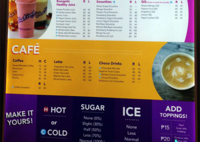Drinks Menu at Chatime, Cebu, Philippines | Coverrr
